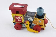 1951 Fisher Price Puffy Train Engine 444 Pull Toy *