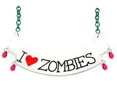 I Love Zombies scroll necklace