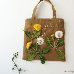 "Dandelion felt applique and embroidery mini bag by e.no.bag ""タンポポ ノ バッグ 2015"" #dandelion #felt #embroidery"