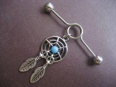 Industrial Piercing Barbell Dream Catcher Charm Dangle Turquoise Dreamcatcher 14 Gauge Bar