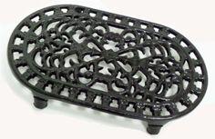 Amazon.com: Black Oval Shaped Cast Iron Trivet: Home & Kitchen