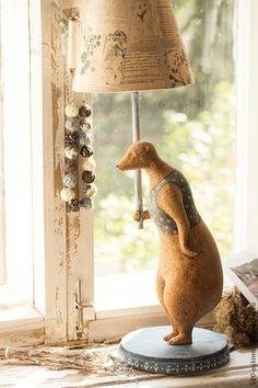 """Купить Лампа """"Медведь"""" - медведь, настольная лампа, освещение, светильник, ночник, папье-маше, масло"""