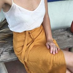 Our tulip wrap skirt coming up soon in turmeric ☝️