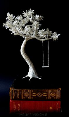 Book Paper Sculpture - Paper Tree with swing on wood.