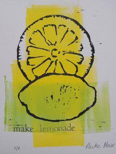 Original 2 colour linocut block print, relief print, still life, 4 X 6, Lemon Monoprint