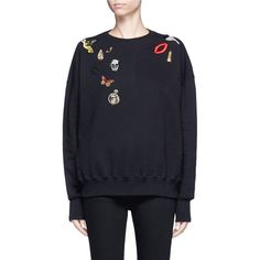 Alexander McQueen Obsession charm embellished fleece sweatshirt (£945) ❤ liked on Polyvore featuring tops, hoodies, sweatshirts, black, alexander mcqueen sweatshirt, decorated sweatshirts, embellished sweatshirt, butterfly print top and alexander mcqueen tops