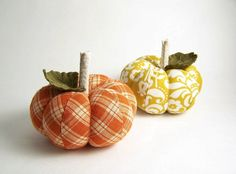 Fun little fabric pumpkins to cluster somewhere.