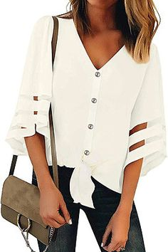 Looking for Luyeess Women's Mesh Panel Bell Sleeve Button Up Tie Front Blouse Top Shirt ? Check out our picks for the Luyeess Women's Mesh Panel Bell Sleeve Button Up Tie Front Blouse Top Shirt from the popular stores - all in one. Loose Shirts, Loose Tops, Loose Fit, Bell Sleeve Blouse, V Neck Blouse, Batwing Sleeve, Casual Tops, Casual Shirts, Half Sleeves