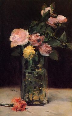 "Edouard Manet (1832-1883) - ""Roses In A Glass Vase "" .  1882 \\  they are precious and priceless, painted while Manet lay dying."