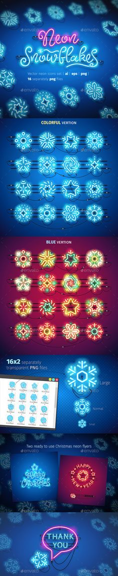 Christmas Colorful Neon Snowflakes Icons — Vector EPS #illumination #merry • Available here ➝ https://graphicriver.net/item/christmas-colorful-neon-snowflakes-icons/20972535?ref=pxcr