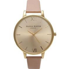 OLIVIA BURTON OB14BD31 big dial stainless steel and leather watch (905 SEK) ❤ liked on Polyvore featuring jewelry, watches, gold, stainless steel jewellery, stainless steel wrist watch, dial watches, roman numeral watches and leather strap watches