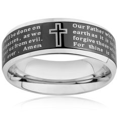 West Coast Jewelry Stainless Steel Men's Beveled Edge Lord's Prayer Ring (6-8 mm) (Rose (6mm) - Size 7), Two-Tone