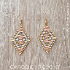 beaded jewelry patterns step by step Seed Bead Jewelry, Bead Jewellery, Seed Bead Earrings, Hoop Earrings, Diamond Earrings, Beaded Earrings Patterns, Beading Patterns, Beaded Bracelets, Seed Bead Patterns