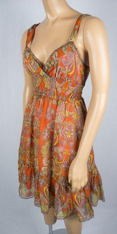 FREE PEOPLE Dress 4 S Summer Silk Cotton Blend Geometric Print Smocked Lace