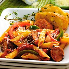 Spicy Sausage & Peppers Penne.  From The Pampered Chef It's Good For You:  Healthy Recipes for Busy Families (c2004).