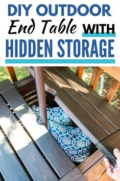 DIY Umbrella Stand Side Table with Free Plans - - Relax in the shade with this DIY umbrella stand table! The umbrella base is hidden inside the outdoor side table top with extra storage space! Diy Umbrella Base, Outdoor Umbrella Stand, Offset Patio Umbrella, Deck Umbrella, Outdoor End Tables, Outdoor Side Table, Pool Umbrellas, Outdoor Patio Umbrellas, Resin Patio Furniture