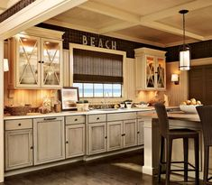 Beach Theme Kitchen In Distressed White With X Door With Blurry Glass