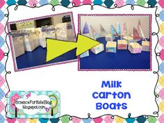 milk carton boats with objects to sink and float Elementary Science, Science Classroom, Science For Kids, Activities For Kids, Science Lesson Plans, Science Lessons, Sink Or Float, First Grade Science, Weather Seasons