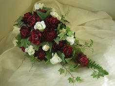 Cascading Bouquet Burgundy Pink Ivory Rose Amp By