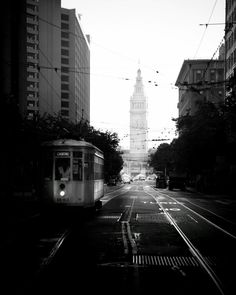 Old Fashioned #sanfrancisco #marketstreet #trolley Black and White Photography adamwhittaker.com