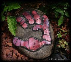 Hand Print Mosaic Rock Garden Stone