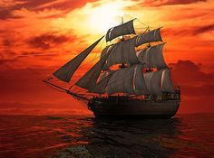 Blazing Sail Sailcloth Print
