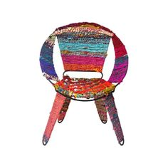Add our Aniya Sitting Chair to your Chindi furniture collection for bright pops of color. Mix in this colorful accent with neutral tones for a modern, yet eclectic feel. Pieces of recycled fabric are woven together with an iron frame for comfortable and stylish relaxation.