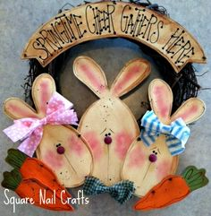 I made this cute Spring wreath using a pattern from Karen Stone of Pretty Primitives. I changed a few details to suit my taste. www.facebook.com/squarenailcrafts