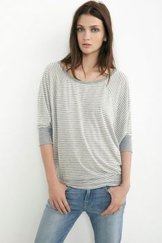VELVET By Graham & Spencer Akela Tencel Heather Stripe Dolman Top Grey S $128 #VelvetbyGrahamSpencer #Tee #Casual