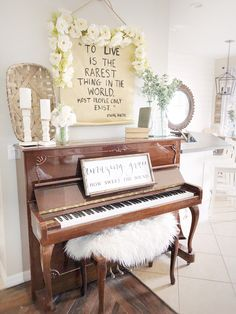 modern farmhouse piano decor styling (and handmade scroll!
