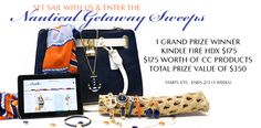 Check out this Nautical Getaway Sweeps from Charming Charlie.  Win a Kindle Fire HDX and $175 worth of Charming Charlie products.