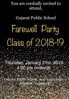 Farewell Invitation, Farewell Parties, Class Of 2018, Public School, Invitations, Cards, Movie Posters, Going Away Parties, Film Poster