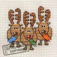 Stitchlets Christmas Card Cross Stitch Kit - Three Reindeer - Giggle Squiggle