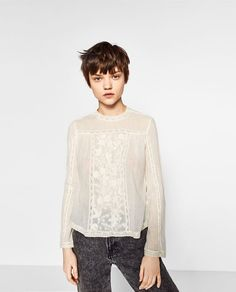 ZARA - WOMAN - EMBROIDERED TOP WITH HIGH NECK