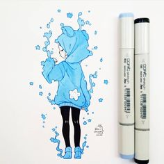 Anime Drawings Sketches, Anime Sketch, Kawaii Drawings, Cute Drawings, Arte Do Kawaii, Kawaii Art, Cartoon Art Styles, Cute Art Styles, Copic Marker Art