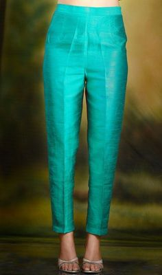 Pencil Pants Cigarette Trouser Style in Teal Color (With same coloured blouse and dark shrug)Are you searching for the best quality Latest Elegant Designer Punjabi Suit plus Latest Elegant ladies Punjabi Suit then CLICK Visit above for more optionsI Silk Kurti Designs, Churidar Designs, Kurta Designs Women, Kurti Designs Party Wear, Blouse Designs, Design Of Kurti, Churidhar Neck Designs, Indian Fashion Dresses, Indian Designer Outfits