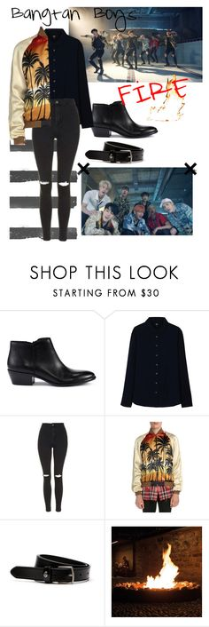 """""""Bts """"Fire"""" Jimin Inspired Outfit"""" by daisslovebeauty ❤ liked on Polyvore featuring Sam Edelman, Uniqlo, Topshop, Yves Saint Laurent and Lacoste"""