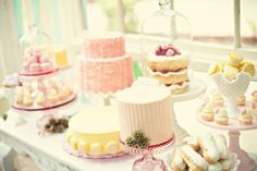 Pink and yellow french inspired dessert table