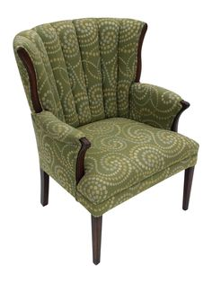 This freshly upholstered chair with a gorgeous fanned out back! This wingback chair has a sturdy frame that is exposed in the back, arm and leg area. It is a stunning statement piece for your living room but also very comfortable!