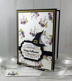 Stampin' Up! Spooky Cat Witch Hat Halloween cardHere's my Stampin' Up! Spooky Cat Witch Hat Halloween card. This was a fun color challenge that stretched my creativity. Crushed curry, Perfect Plum, and Cherry cobbler, lol… Hmmmm… Ended up loving the Halloween...