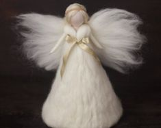 Needle Felted-Large Tree topper Angel --White-Silk - Gold-Felted christmas ornament-Guardian angel-Soft angel-Magic wool