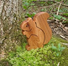 Wood Toy Squirrel Hickory natural wooden by SnapdragonFortress. $12.00, via Etsy.