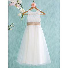 Lanting Bride A-line Tea-length Flower Girl Dress - Lace / Tulle Sleeveless Jewel with – USD $ 59.99