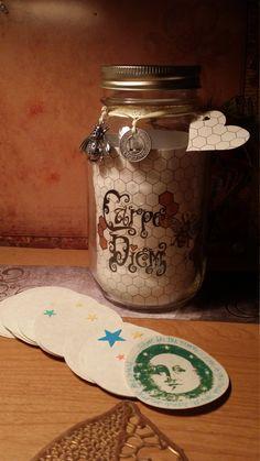 "Gratitude Mason Jar ""Carpe Diem Bee"" HAND DRAWN 32 oz Smooth, Beautiful Collaboration of Art, Style & Charm OOAK by Carole Anzolletti by ThePhantomQueensLab on Etsy"