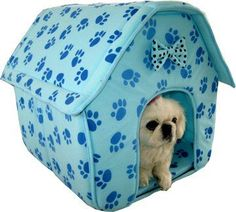 Cat/Dog Pink Collapsible Paw Prints Pet House *Blue* ** Hurry! Check out this great product : Beds for Cats