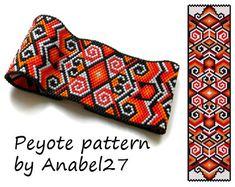 Peyote pattern Fire Dance  beadwork  ethnic style  by Anabel27shop