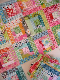"""Red Pepper Quilts - """"Gelati"""" Scrappy Log Cabin ... Yummy!  No instructions, but who needs instructions for a Log Cabin?  Larger pictures at the link.  Absolutely gorgeous!"""