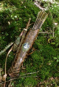 archery, arrows, elven, fantasy, sword, vines, medieval