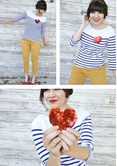 Stripes, mustard yellow, and a sequin heart.