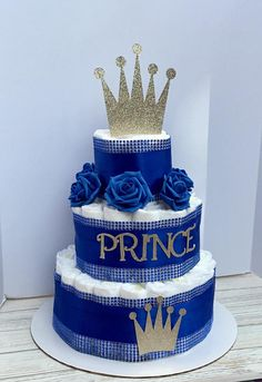Royal Prince Baby Shower Diaper Cake 3 Tier Personalized Gold Crown Royal Blue Little Prince 67 Pamp - baby shower - Baby Shower Idee Baby Shower, Baby Shower Baskets, Baby Shower Diapers, Baby Boy Shower, Baby Shower Gifts, Shower Party, Baby Shower Parties, Baby Shower Themes, Royal Baby Shower Theme